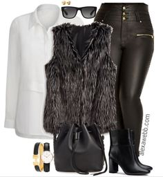 Take a look at the best faux leather leggings outfit in the photos below and get ideas for your outfits! This leather leggings outfit is so cute for fall or winter! Plus Size Fashion Blog, Plus Size Fashion For Women, Curvy Fashion, Fall Fashion, Fashion Ideas, Fashion Outfits, Fashion Trends, Fur Vest Outfits, Leather Leggings Outfit