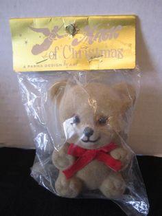 Mid Century Magic Of Christmes Flocked Teddy Bear Ornament Crafts Wreath Brown