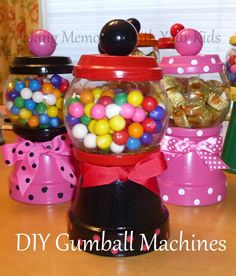 Diy gumball machine candy dishes using glass bowls  terra cotta pots and terra cotta dishes