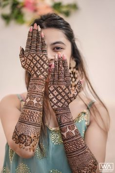 A Pinkish Wedding With Floral Mandap & A Charming Bride Henna Hand Designs, Latest Bridal Mehndi Designs, Full Hand Mehndi Designs, Stylish Mehndi Designs, Mehndi Designs 2018, Mehndi Designs For Girls, Mehndi Design Photos, Wedding Mehndi Designs, Arabian Mehndi Design