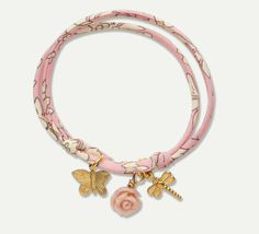 Liberty Print Bracelet - Rose Charm #MarieChantal