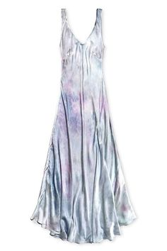 Hand dyed silk maxi dress in Pearl