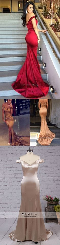 Long Prom Dresses,Red Prom Dresses 2018,Sexy Prom Dresses For Teens,Trumpet/Mermaid Prom Dresses Off-the-shoulder,Modest Prom Dresses with Split Front