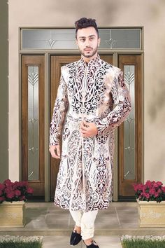 Black velvet wedding sherwani in white chuddi bottom-SH189  #black #velvet #groom #sherwani #white #collection #indian #designer