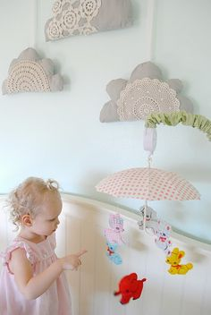 Three Little Clouds - wall hangings by Hart and Sew
