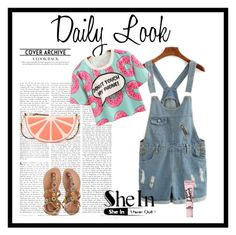 """""""Overall Denim Shorts Shein"""" by dudavagsantos ❤ liked on Polyvore featuring Kate Spade, Beauty Rush, Laidback London and shein"""