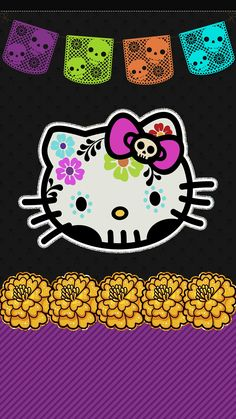 Hello Kitty cell phone wallpaper, lock screen pic, dia de los muertos, day of the dead