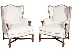 Barclay Butera - Low Wingback Chairs, Pair