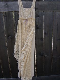 Upcycled Vintage Slip Dress Slipdress Boho Chic Wedding Gown Bridal Hippie Beach Wedding Victorian. $69.00, via Etsy.