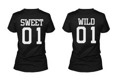 Sweet 01 Wild 01 Matching Best Friends T-Shirts BFF Tees For Two Girls