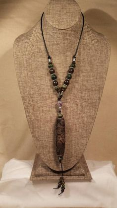 21 Eye Dzi Bead Leather Cord Over Head Necklace by SpringHammock
