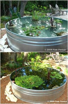 Repurposed Stock Tank Garden Pond # Gardening pond 15 Budget Friendly DIY Garden Ponds You Can Make This Weekend Ponds For Small Gardens, Fish Pond Gardens, How To Make Small Garden Pond, Container Pond, Container Gardening, Garden Pond Design, Diy Pond, Patio Pond, Stock Tank