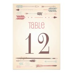 Vintage Tribal Arrows Table Numbers Card