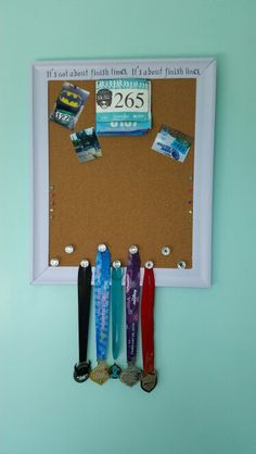 Running medal holder / display with push pin board to display pictures