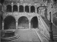 COURTYARD AND STAIRCASE IN THE BARGELLO, FLORENCE, ITALY
