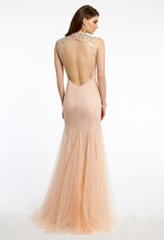 Heavy Beaded Illusion Neck Dress from Camille La Vie and Group USA
