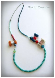 Crafty Collection - Necklace, by Xanthippe - Studio Creativo Diy Crafts Jewelry, Kids Jewelry, Summer Jewelry, Boho Jewelry, Jewelery, Jewelry Design, Handmade Accessories, Jewelry Accessories, Handmade Jewelry