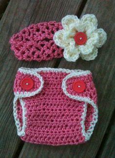 Newborn Baby Girl Crochet Strawberry PINK n CREAM Daisy Headband & Diaper Cover Set -- Cute Photo Prop