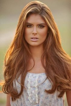 Beautiful golden brown hair color, great for girls with a tan or olive skin