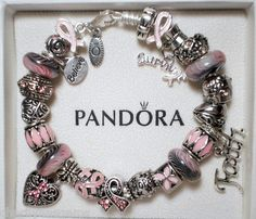 AUTHENTIC PANDORA STERLING SILVER CHARM BRACELET WITH CHARMS! SURVIVOR RIBBONS!