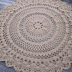 """Özel 60 """"Circle Dantelli Desen Sigara Skid yılında Büyük Yuvarlak Tığ Pamuk Doily Rug yapılmış"""