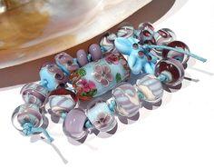 2CATS Lampwork  'Capri' Lampwork Beads 19 Flower by 2catsdesigns, $65.00