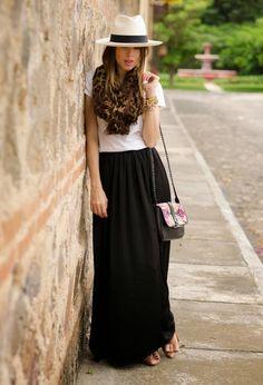 black maxi skirt + t-shirt + scarf