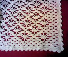 """Tangleweb Afghan This is known as the """"spider stitch"""" Directions are also given for a scarf or wrap."""