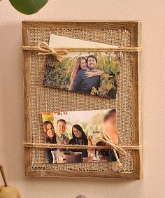 Burlap Photo Frame #zulilyfinds Super easy DIY. 7x9in. Holds 2 4x6 photos