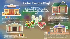 If anyone's having trouble choosing what colors to put around their shops, I made my own little guide! Feel free to share your own opinions as well! Animal Crossing Guide, Animal Crossing Villagers, Animal Games, My Animal, Petunias, Nintendo Switch, Motifs Animal, Island Design, New Leaf