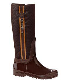 Espresso & Orange Diamond Rain Boot