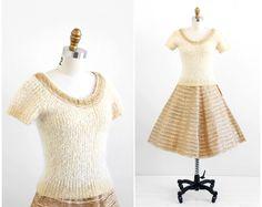 robe vintage des années 1950 / robe 50 s / or et crème véritable métal jupe et chandail Set