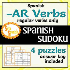 Students define the verb, then complete the puzzle. Every row, column, and mini-grid will have the each of the subject forms of the verb. Like regular sudoku, there are a few filled in to get them started. You can use it as homework, in-class review, or could be great for a sub plan activity!This puzzle pack includes 4 puzzles.