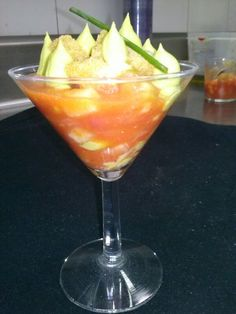 Bloody mary de frutas y gambas  #restaurante El Portillo http://www.ghbarbastro.com/es/restaurante-el-portillo