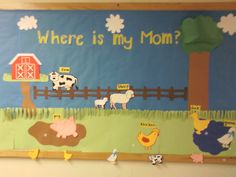 Where is my Mom? An interactive bulletin board for young children. They had to match the baby with the parent animal. I used My World Cricut Cartridge for the barn and fence and Create a Critter for animals