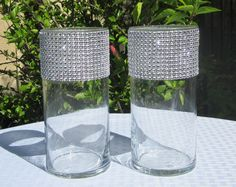 Set of 2 Vases - Rhinestone Mesh for Wedding Table Centerpiece or Bouqet holder - 10 color choices!