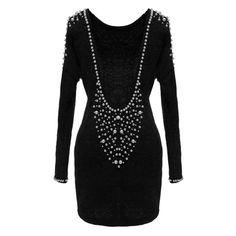 Pearls Beaded V-back Backless Dress