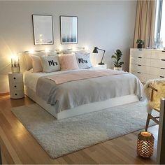Ikea bett, ikea bedroom, home bedroom, bedroom wall, bedroom decor on a b. Room Ideas Bedroom, Home Bedroom, Modern Bedroom, Bed Rooms, Ikea Bedroom, Bedroom Wall, Nursery Ideas, Budget Bedroom, Pink Bedrooms