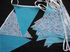 10 mtrs aqua spotty and pink flower with aqua wedding day party bunting code st