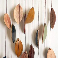 Stoneware Ceramic Leaf Chimes Mobile, Made to Order. $45.00, via Etsy.