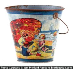 Unusual, very early tin litho sand pail