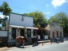 Bandera Texas ... 11th Street Bar... Harley's and Horses welcome.