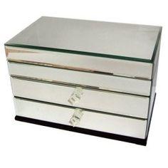 Decorative Home Rectangular 4drawer Mirror Jewelry Box Mirrored
