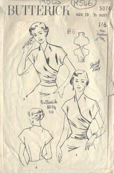 "1950s Vintage Sewing Pattern BLOUSE B36"" (R546)"
