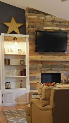 DIY pallet wall, fireplace and storage