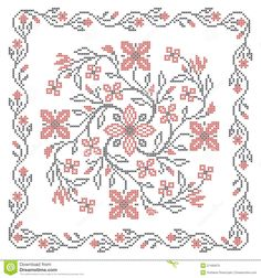 Illustration about Cross stitching embroidery in traditional Ukrainian ethnic style, vector illustration. Illustration of chart, traditional, crossstitch - 27495875 Ribbon Embroidery, Cross Stitch Embroidery, Cross Stitch Patterns, Cross Stitch Rose, Cross Stitch Flowers, Diy Crafts Hacks, Diy And Crafts, Beginning Embroidery, Stock Foto