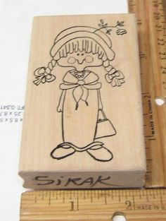 LITTLE GIRL IN PIG TAILS BY LIZZY MAY STAMPS RUBBER STAMP #LUCYMAR #RUBBERSTAMP