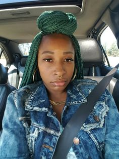 Me with my green braids😍😍😍