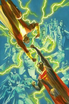 #Superman #Fan #Art. (Crisis on Multiple Earths Vol. 4 Cover) By: Alex Ross. (THE * 5 * STÅR * ÅWARD * OF: * AW YEAH, IT'S MAJOR ÅWESOMENESS!!!™)[THANK U 4 PINNING!!!<·><]<©>ÅÅÅ+(OB4E)