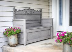 I am SO excited how this project turned out. I had been looking for a bench with storage for my front door. Same old story…everything was either blah or way too expensive. I saw a headboard r…